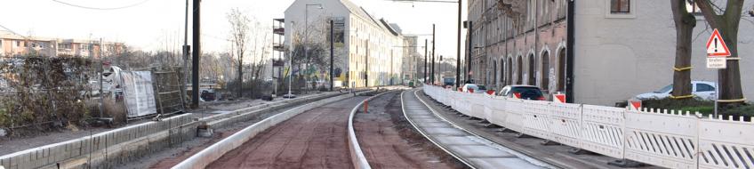 Bauarbeiten in der Schönebecker Straße (Aufnahme: Januar 2020)