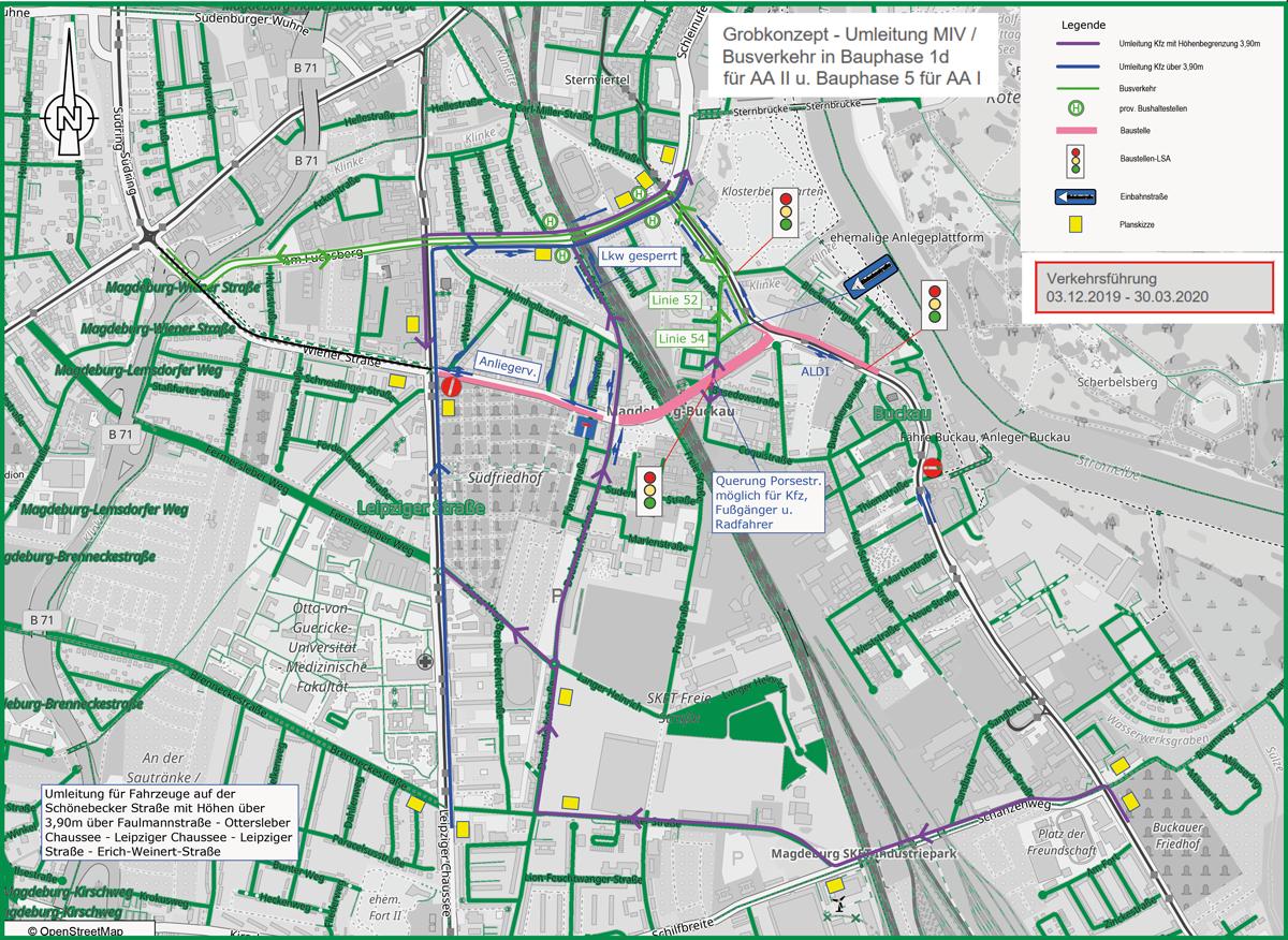 Verkehrsführung bis 30. März 2020 (Die Straßenbahnen fahren unverändert.)