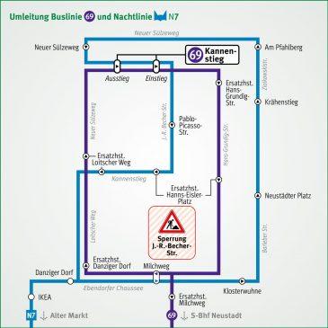 Umleitung der Linien 69 und N7 während Sperrung Johannes-R.-Becher-Str.