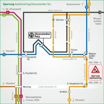 Sperrung Adelheidring/Olvenstedter Straße