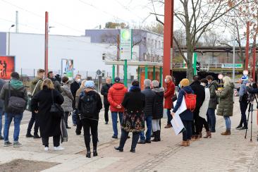Pressetermin zur Eröffnung der Straßenbahnneubaustrecke Warschauer Straße/Raiffeisenstraße (Foto: Peter Gercke)
