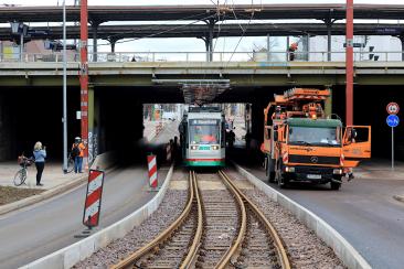 Testfahrt auf der Neubaustrecke am S-Bahnhof Buckau am 15. Dezember 2020 (Foto: Peter Gercke)