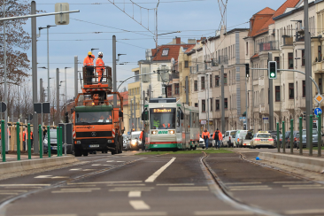 Testfahrt vor der Eröffnung der Straßenbahnneubaustrecke Warschauer Straße (Foto: Peter Gercke)