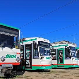 Straßenbahnen im Straßenbahndepot