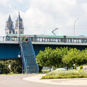 Straßenbahn auf der Strombrücke (Foto: Stefan Deutsch)