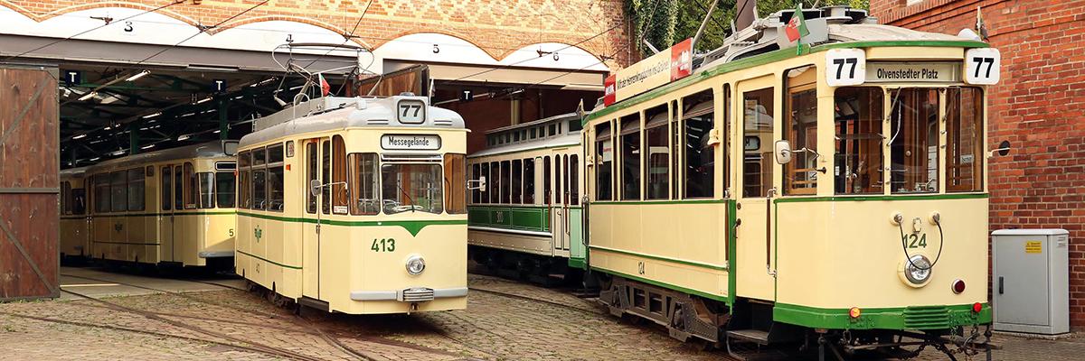 Historische Straßenbahnflotte auf dem Museumsdepot in Sudenburg (Foto: IGNah)