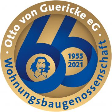 Jubiläumsbutton der Wohnungsbaugenossenschaft Otto von Guericke eG