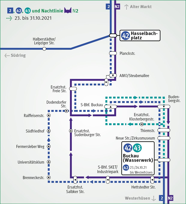 Umleitung in Buckau vom 23. bis 31.10.2021