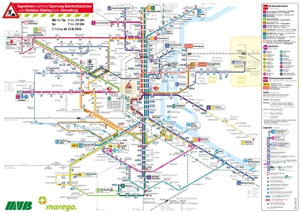 Tagesliniennetz Sperrung Bahnhofsbrücken und Gleisbau Südring + Herrenkrug, gültig seit 15.8.2016