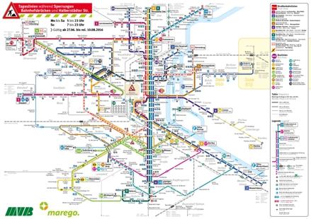 Tagesliniennetz Sperrungen Bahnhofsbrücken und Halberstädter Straße
