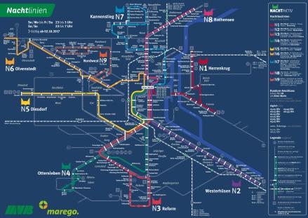 Liniennetzplan Nachtverkehr, gültig seit 2.10.2017