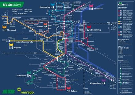Liniennetzplan Nachtverkehr, gültig seit 9.8.2018