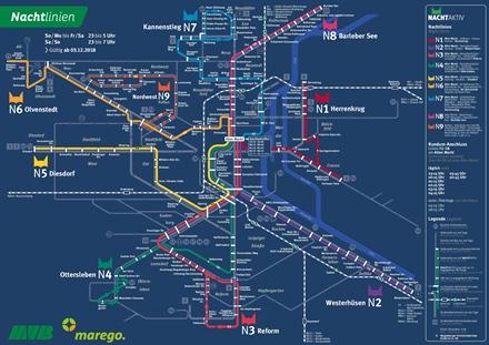 Liniennetzplan Nachtverkehr, gültig seit 3.12.2018