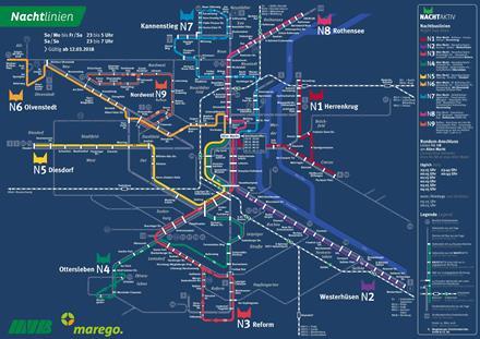 Liniennetzplan Nachtverkehr, gültig seit 12.3.2018